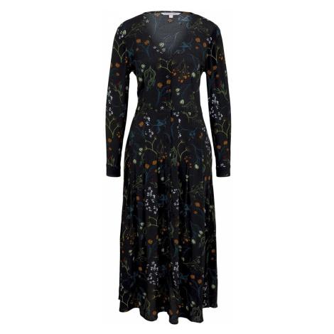 TOM TAILOR DENIM Damen Midi Blusenkleid mit Blumenmuster, schwarz