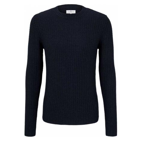 TOM TAILOR Herren Strukturierter Pullover mit Wollanteil, blau