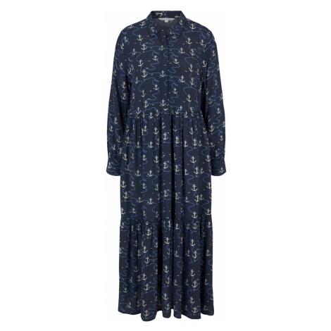 TOM TAILOR DENIM Damen Gemustertes Blusenkleid mit Volants, blau