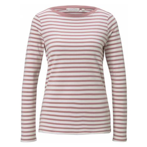 TOM TAILOR DENIM Damen Gestreiftes Langarmshirt mit Bio-Baumwolle, rosa