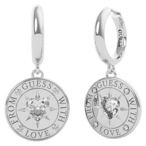 Guess JUBE70026JW Damen-Ohrringe Coin Ohrhänger With Love