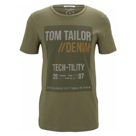 TOM TAILOR DENIM Herren T-Shirt mit Print, grün