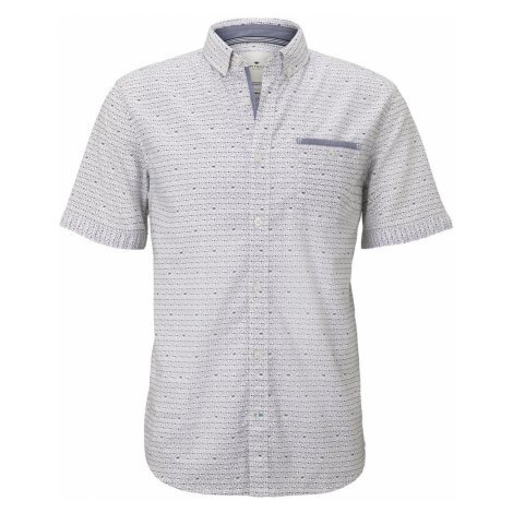 TOM TAILOR Herren Gemustertes Hemd, weiß