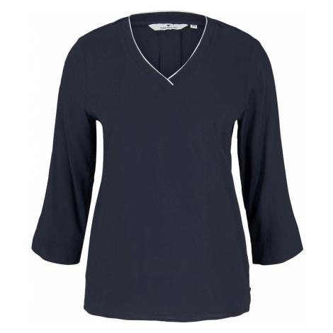 TOM TAILOR Damen Basic Bluse mit V-Ausschnitt, blau