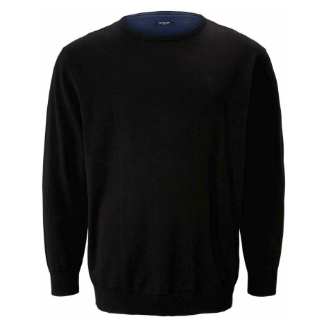 TOM TAILOR Herren Basic Pullover mit Logo-Stickerei, schwarz