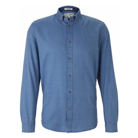 TOM TAILOR DENIM Herren strukturiertes Hemd mit Bio-Baumwolle, blau
