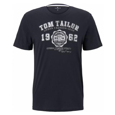 TOM TAILOR Herren T-Shirt mit Logo-Print, blau, unifarben mit Print