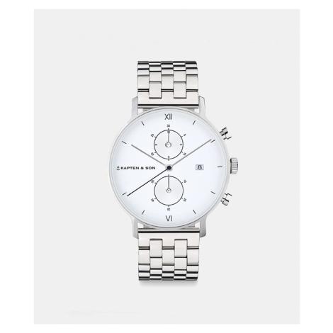 Kapten & Son Uhr Chrono Silber Weiß Edelstahl 40 mm