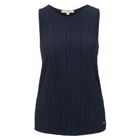 TOM TAILOR DENIM Damen Plissée-Top, blau, unifarben