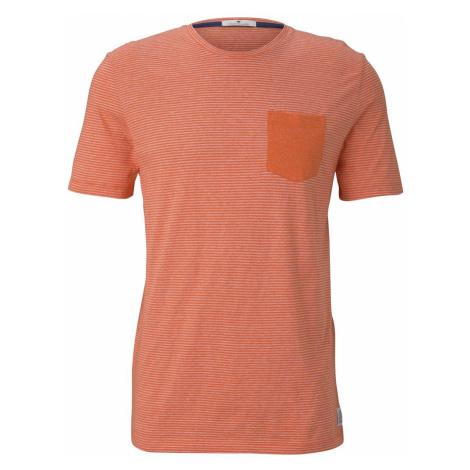 TOM TAILOR Herren Gestreiftes T-Shirt mit Brusttasche, orange