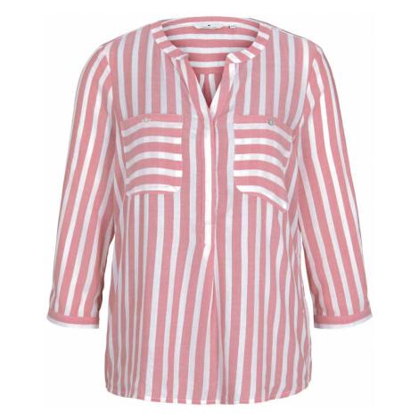 TOM TAILOR Damen Gestreifte Bluse mit Taschen, rosa