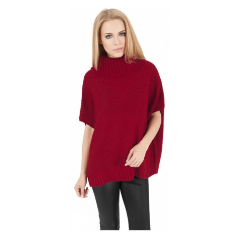 Urban Classics Ladies Knitted Poncho red