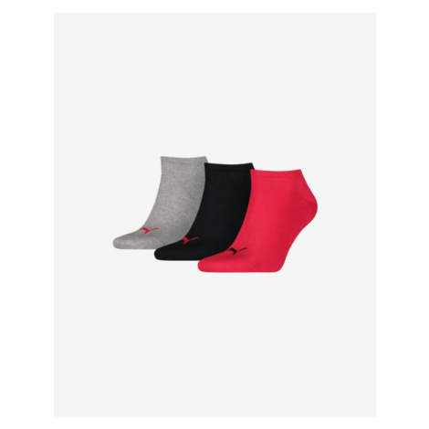 Puma 3 Paar Socken Schwarz Rot Grau