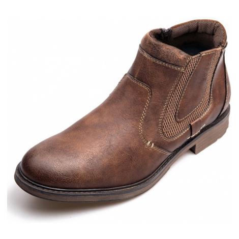 Herren Vintage Seitlicher Reißverschluss Wasserdichter lässiger Chelsea-Knöchel Stiefel