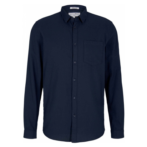 TOM TAILOR DENIM Herren Fein strukturiertes Hemd mit Bio-Baumwolle , blau