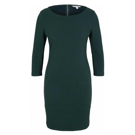 TOM TAILOR DENIM Damen Strukturiertes Bodycon Kleid, grün