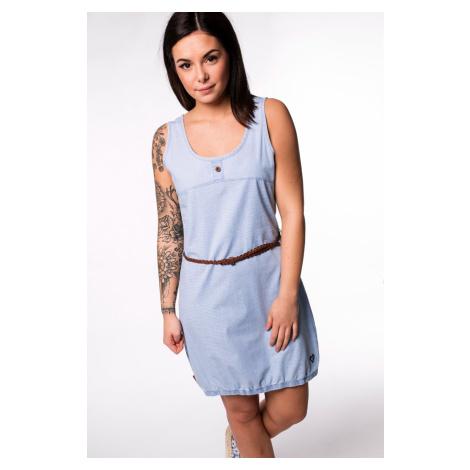Blaue ärmellose kleider