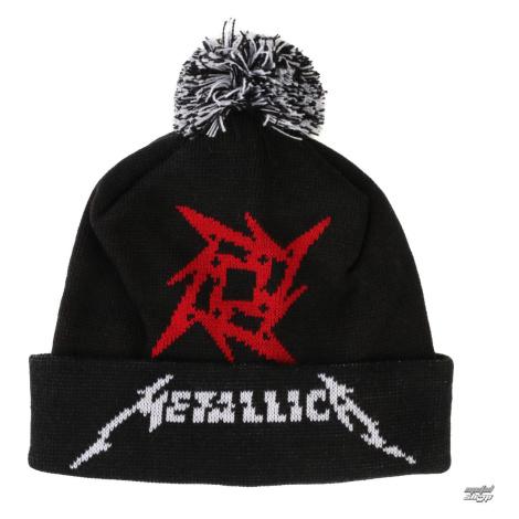 Wintermütze Metallica - Glitch Star Logo - Schwarz Gewebt Bommel - RTMTLBEBGLI