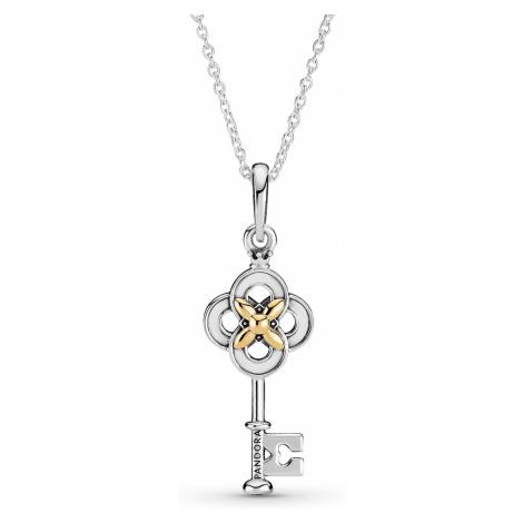 Pandora 399339C01-70 Silber Damen-Kette Zweifarbiger Schlüssel mit Blume
