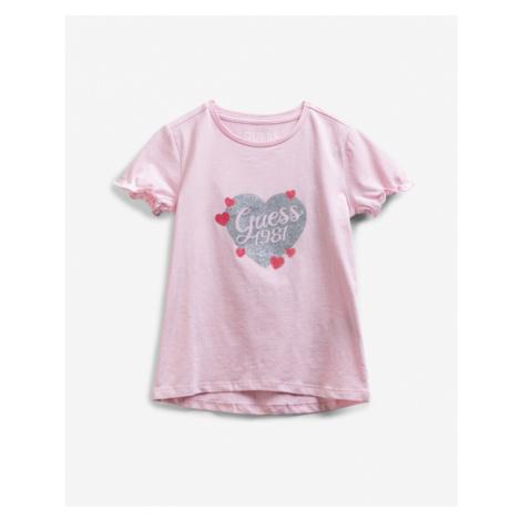 Guess Glitter Logo Kinder  T‑Shirt Rosa