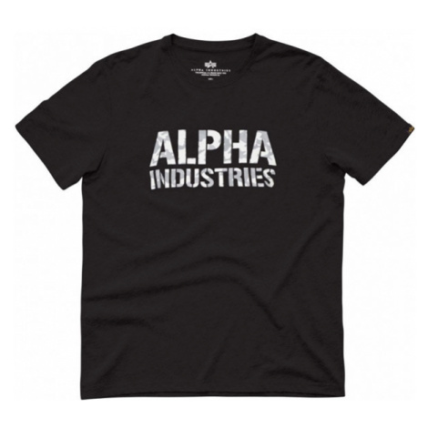 Herren T-Shirt Alpha Industries Camo Print Tee Black