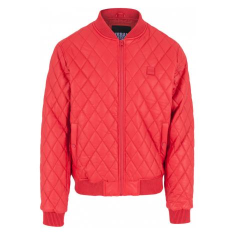Urban Classics Diamond Quilt Leather Imitation Jacket TB1150 Fire Red