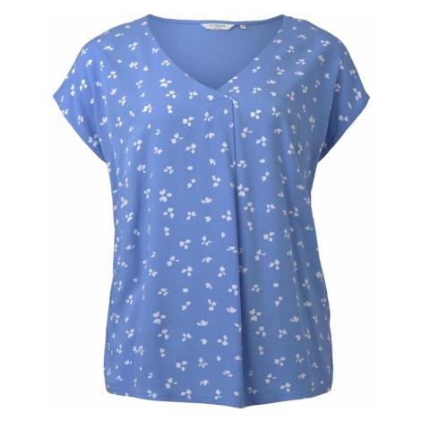 TOM TAILOR MY TRUE ME Damen Curvy - Gemustertes T-Shirt aus Materialmix, blau