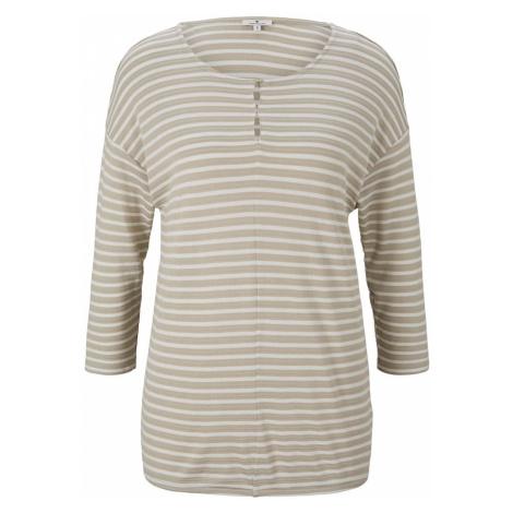 TOM TAILOR Damen gestreiftes T-Shirt mit elastischem Saum, beige
