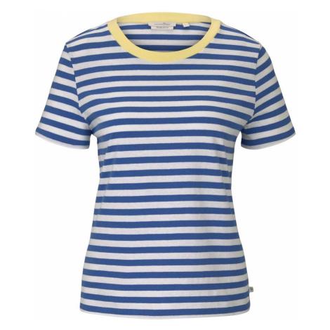 TOM TAILOR DENIM Damen Streifen T-Shirt mit Bio-Baumwolle, blau