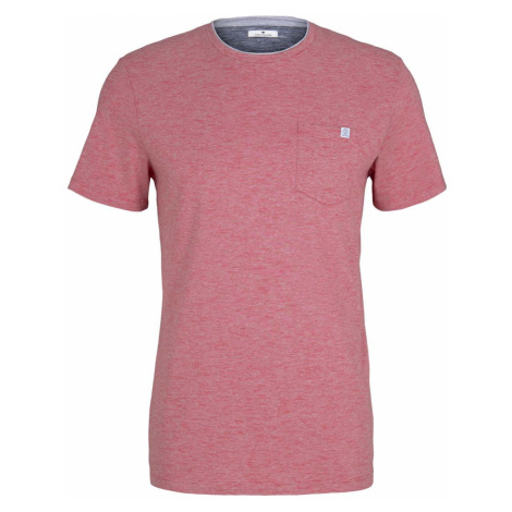 TOM TAILOR Herren Fein gemustertes T-Shirt mit Brusttasche, rot