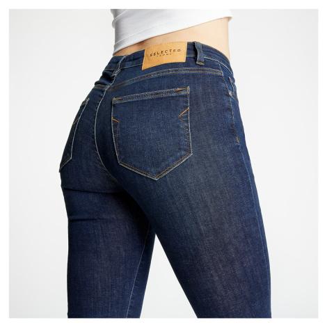 SELECTED Mid Waist Skinny Jeans Dark Blue Denim