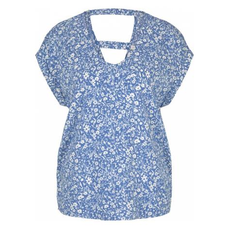 TOM TAILOR DENIM Damen Gemusterte Kurzambluse aus nachhaltiger Viskose, blau