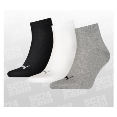 Puma Quarter Plain Socks 3-PACK schwarz/grau Größe 35-38