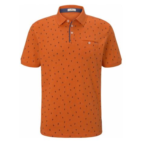 TOM TAILOR Herren Poloshirt im Allover-Print mit Paspeltasche, orange