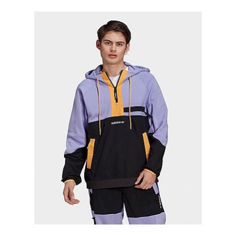 Adidas Originals Adventure Colorblock Mixed Material Half Zip Sweat Hoodie - Light Purple / Blac