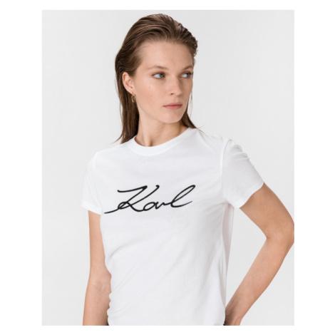 Karl Lagerfeld Logo Rhinestone T-Shirt Weiß