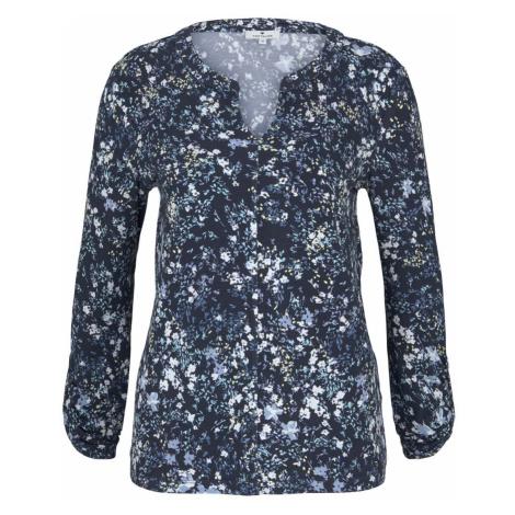 TOM TAILOR Damen gemusterte Bluse mit Henleyausschnitt, blau