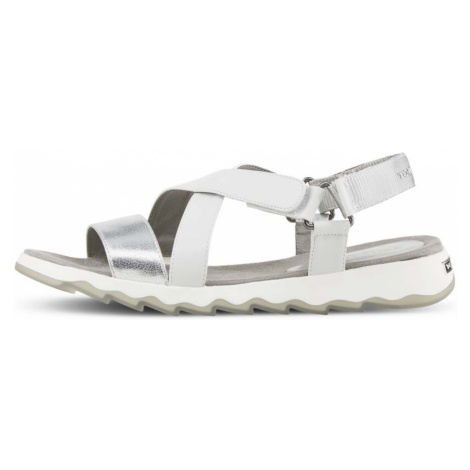 TOM TAILOR Damen Metallic Sandalen, weiß