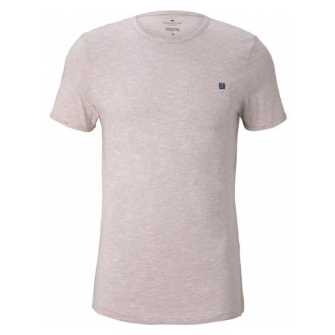 TOM TAILOR Herren Strukturiertes T-Shirt mit Brusttasche, beige
