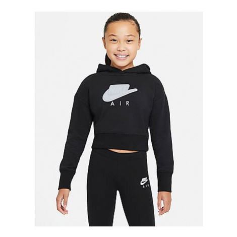 Nike Nike Air Crop-Hoodie aus French Terry für Kinder (Mädchen) - Black/White/White - Kinder, Bl