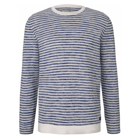 TOM TAILOR DENIM Herren gestreifter Pullover, blau