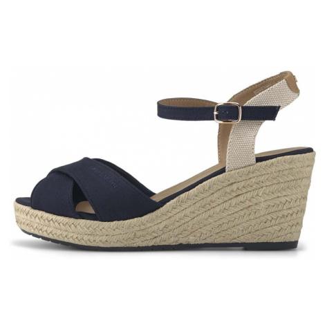 TOM TAILOR Damen Sandaletten mit Keilabsatz, marine