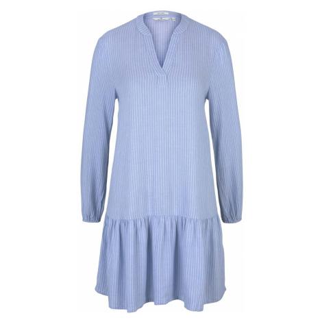 TOM TAILOR Damen Gestreiftes Tunika Kleid mit Leinen, blau