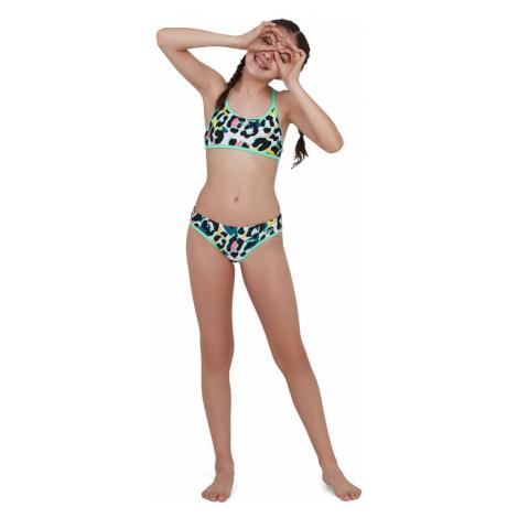 Speedo Junior JungleSpeak Tieback Bikini, Schwarz/Weiß/Grün/Blau