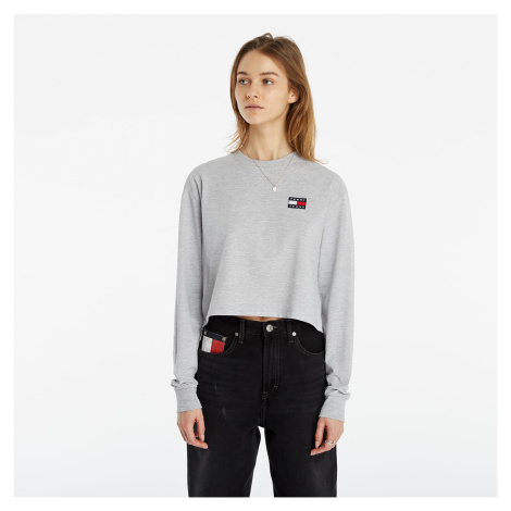 Tommy Jeans Tommy Badge Longsleeve Cropped T-Shirt Silver Grey Htr Tommy Hilfiger