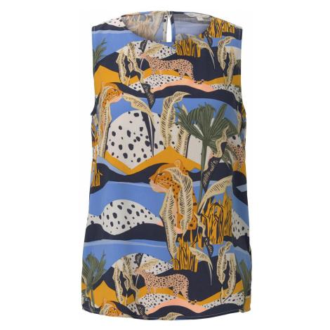 TOM TAILOR DENIM Damen Ärmellose Bluse mit exotischem Print, blau