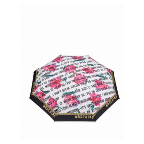 Regenschirm Openclose Slogan & Flowers Moschino