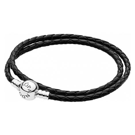 Pandora 590745CBK Damen Leder-Wickelarmband Zweifach Schwarz
