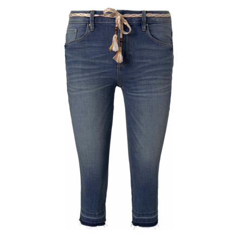 TOM TAILOR Damen Alexa Slim Capri-Jeans mit Abrasionen, braun