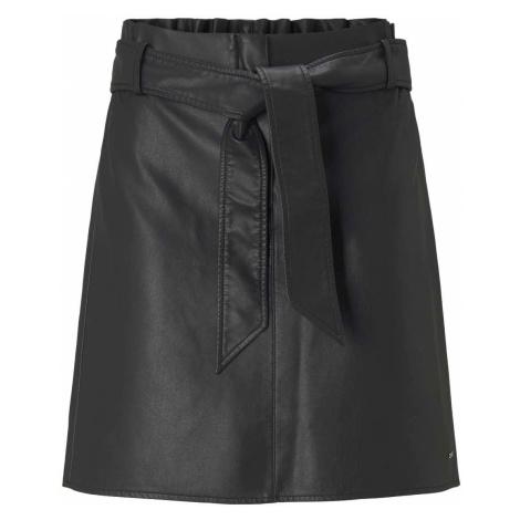TOM TAILOR DENIM Damen Minirock mit Bindegürtel, schwarz